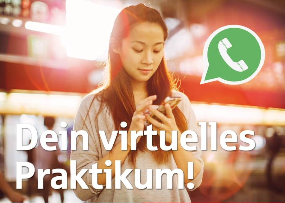 Ein Bild des WhatsApp-Praktikum Flyers.