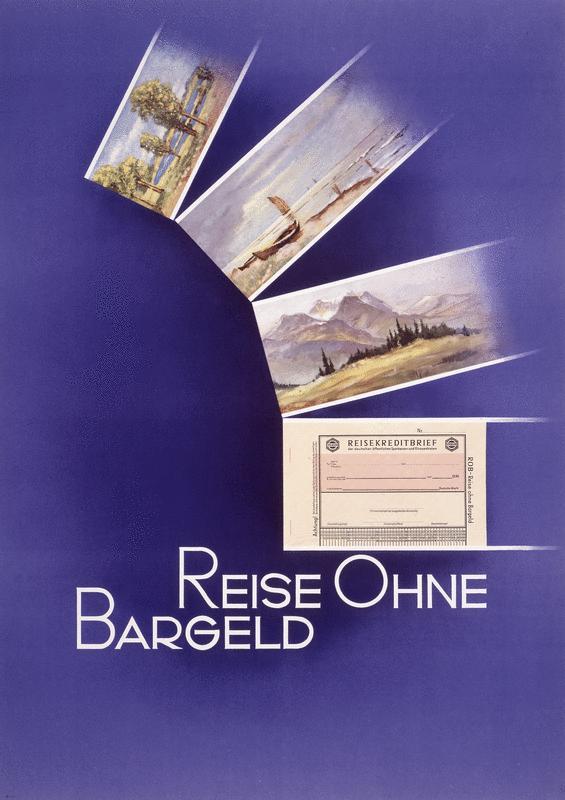altes Plakat - Werbung für Reiseschecks