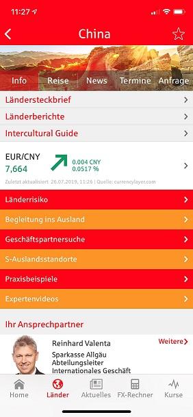 Informationen zu Ländern in der S-weltweit App