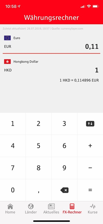 Währungsrechner in der S-weltweit App