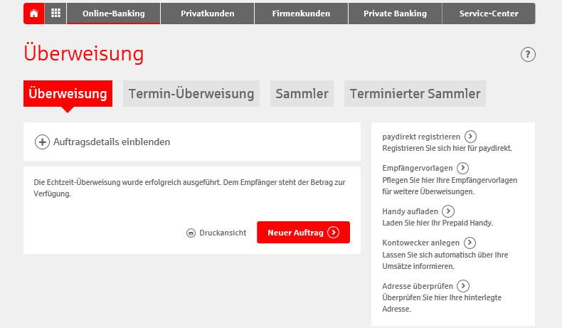 Bestätigung Echtzeit-Überweisung im Online-Banking