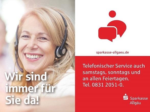 Telefon-Filiale der Sparkasse Allgäu - 24 Stunden, 7 Tage die Woche