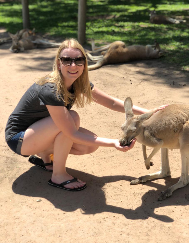 Kaenguru füttern in Australien