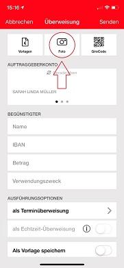 Fotoüberweisung in der Sparkassen-App