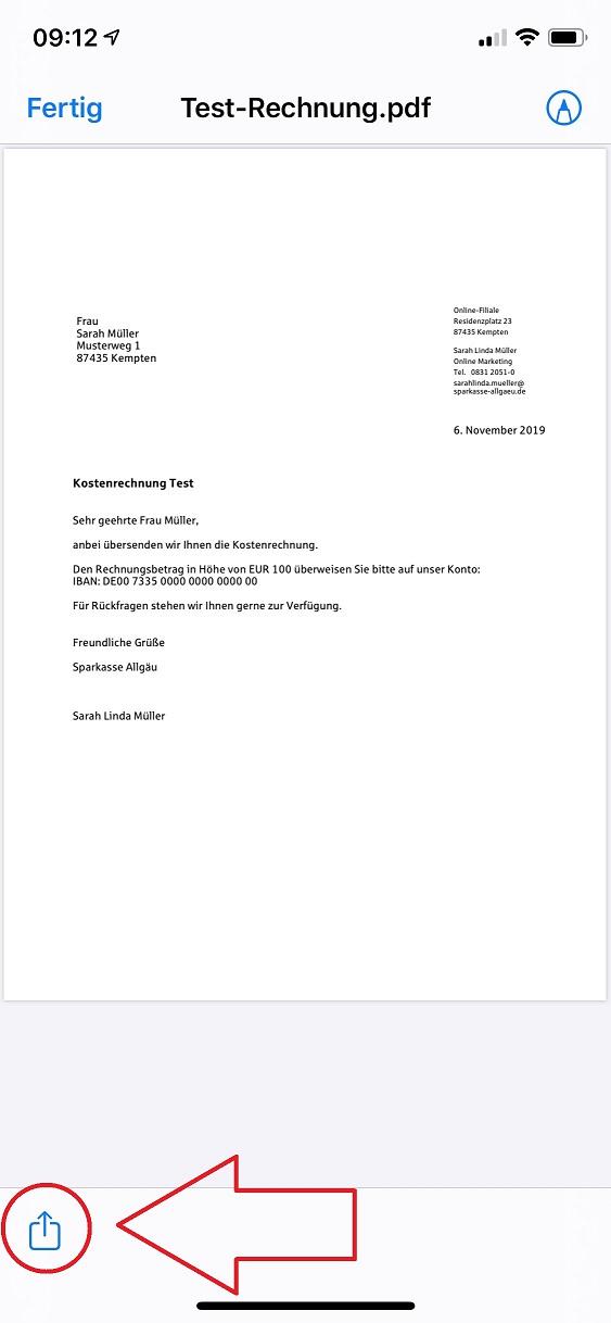 PDF-Rechnung in die Sparkassen App übernehmen