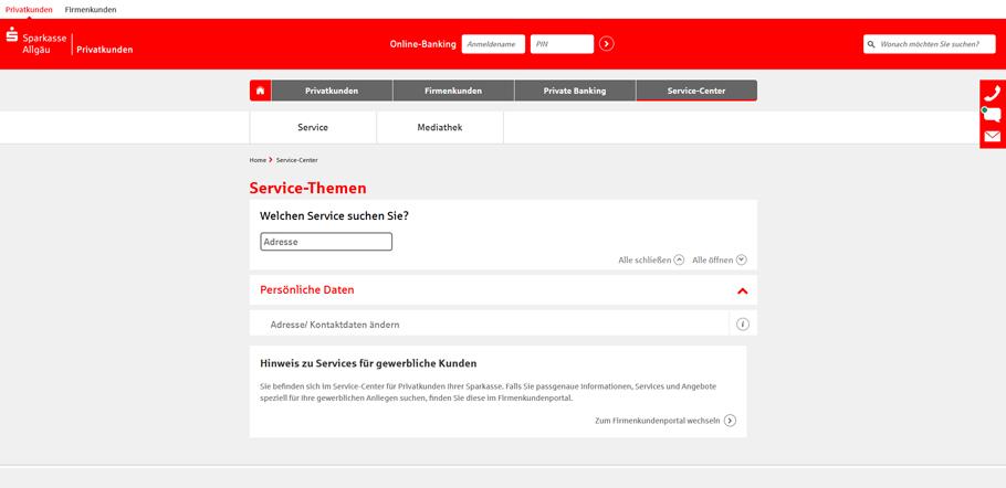 Adresse online ändern bei der Sparkasse - Service-Center