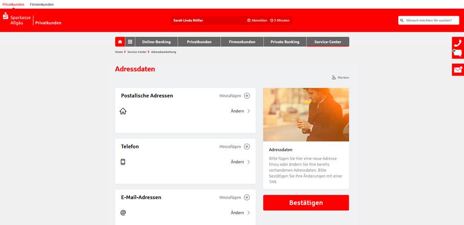 Adresse online ändern bei der Sparkasse - Übersicht