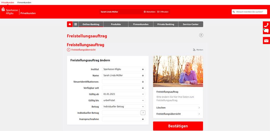 Freistellungsauftrag online ändern - Sparkasse Schritt 5