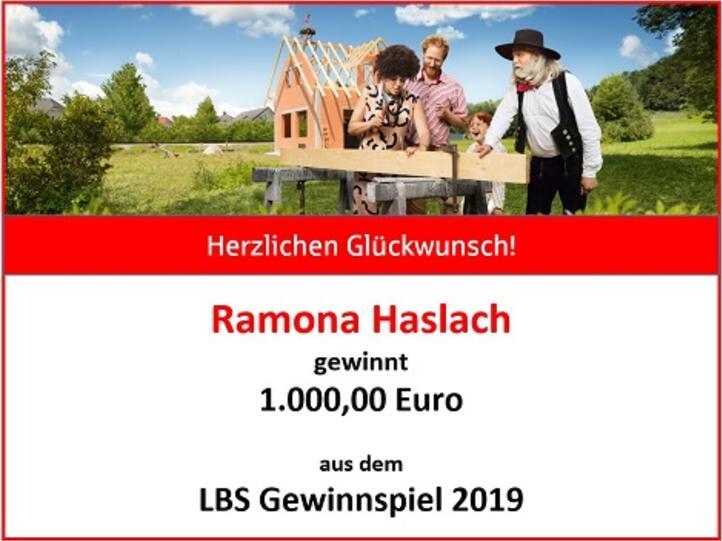 Ramona Haslach gewinnt 1.000 Euro bei der LBS