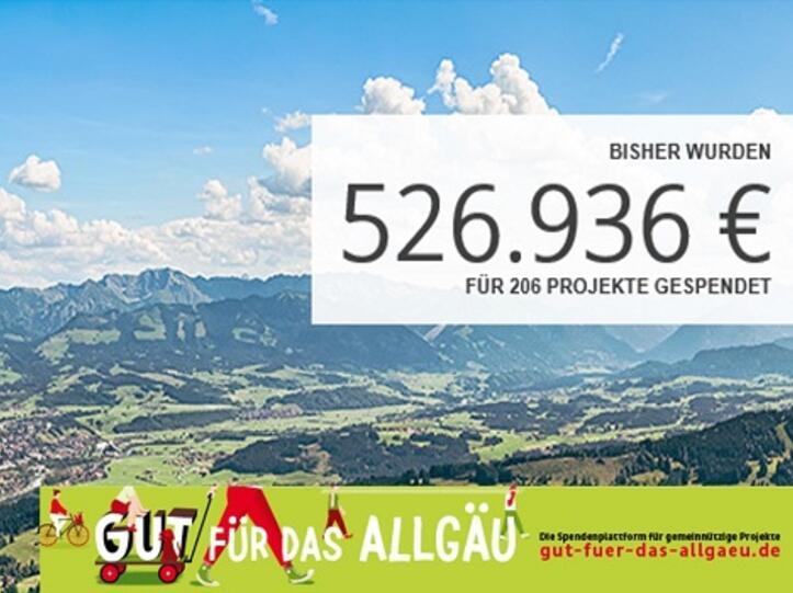 Mehr als eine halbe Million Euro wurden bisher über die Online-Spendenplattform www.gut-fuer-das-allgaeu.de für die Region gesammelt